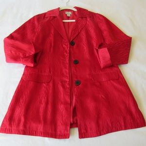 Chicos Red Silk Blazer Small Long 3/4 Sleeve